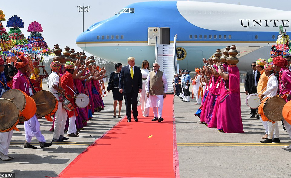 The colorful and festive arrival ceremony in India featured dancers and live music as the Trumps and Modi walked the red carpet