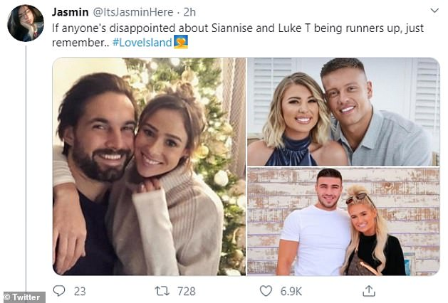Still going strong:Fans noted that contestants such as Olivia Buckland and Alex Bowen (top right), who got married in 2018, Camilla Thurlow and Jamie Jewitt (left), and Molly-Mae Hague and Tommy Fury (bottom right) all finished as runner-ups and are still together now