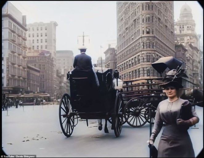 The famous Flatiron Building (pictured), known for its odd shape, also looks almost exactly like it did in the 1900s