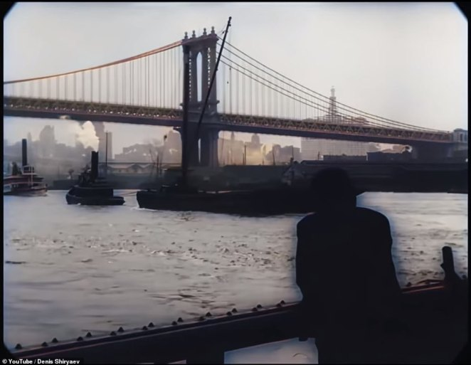 Using neural networks, the YouTuber was able to clear up and sharpen the images in the video, whichtakes you through Fifth Avenue, over the Brooklyn Bridge (pictured) and even through Battery Park