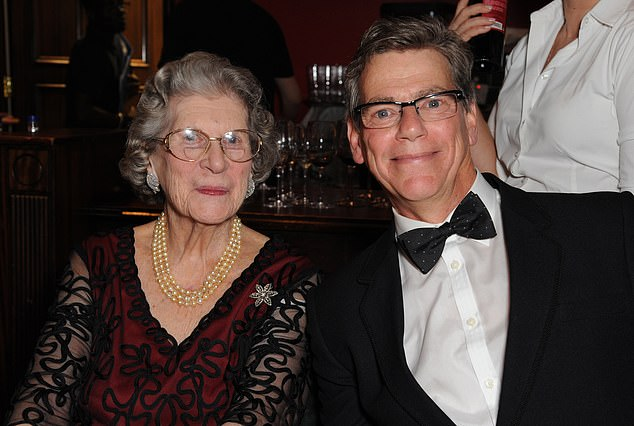 Baroness Trumpington and Jeremy Clarke attend The Spectator Cigar Awards Dinner in 2014 in London