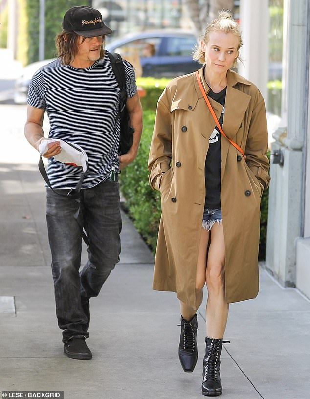 Looking her best: Diane Kruger, 43, and Norman Reedus, 51, had a day out without the kids on Monday as she dropped by a salon in Los Angeles for some upkeep