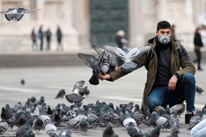 A man in a face mask feeds pigeons in Milan, as the country is hit by the coronavirus outbreak