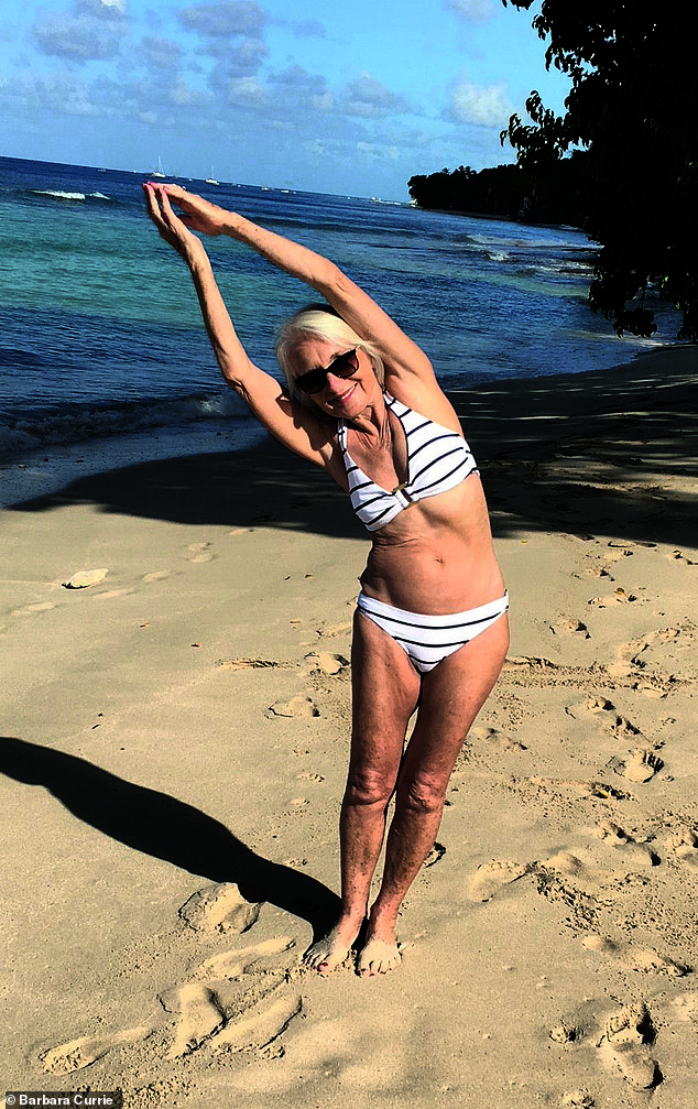 Barbara Currie, 78,claims yoga has ensured she's still in the same shape now as she was in her twenties - and just as flexible