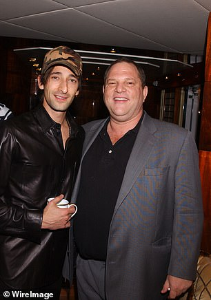 Adrien Brody and Harvey Weinstein during 2003 Cannes Film Festival