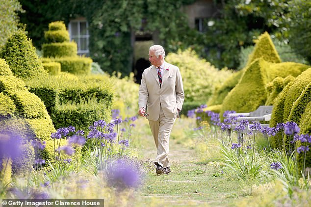 The royal gardens's seeds will be joined by those of onions from Brazil, guar beans from central Asia and hundreds of others in the vault's collections. In a statement, Prince Charles — pictured here walking among in the gardens at Highgrove —said that it is 'more urgent than ever that we act now to protect this [plant] diversity before it really is too late'