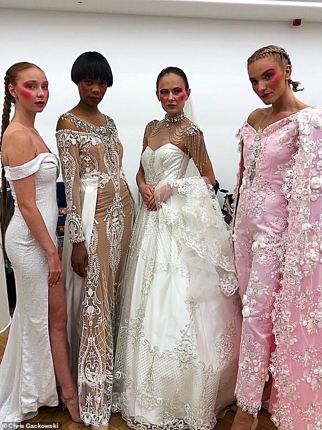 April's models are pictured ahead of their London Fashion Week show in her handmade bridal designs