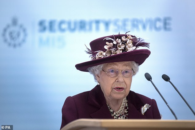 The Queen thanked intelligence workers in a speech, pictured, saying she was struck by their 'remarkable resolve'