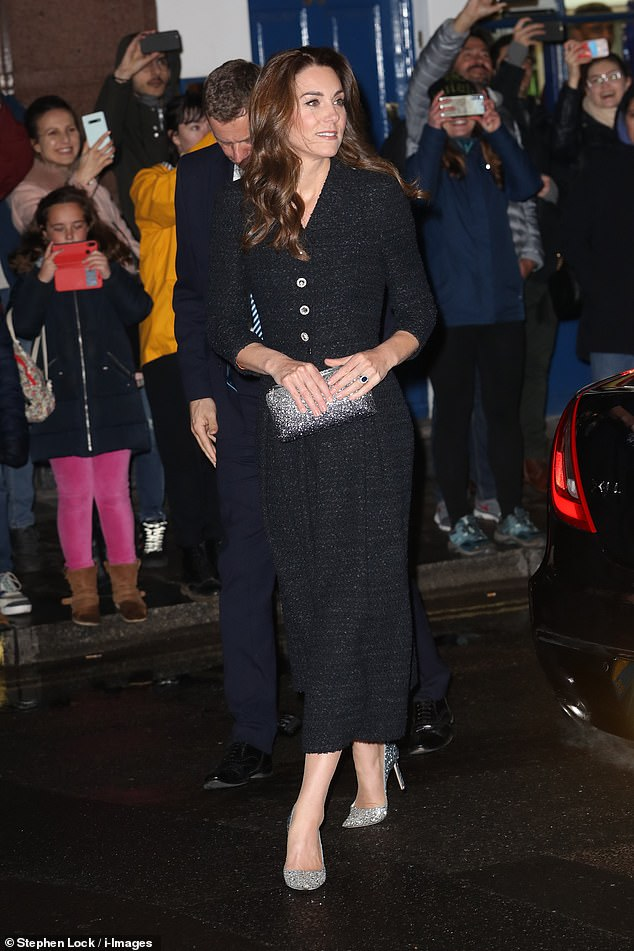 Kate Middleton cut a fashionable figure as she arrived at the Noël Coward Theatre alongside Prince William in Covent Garden this evening