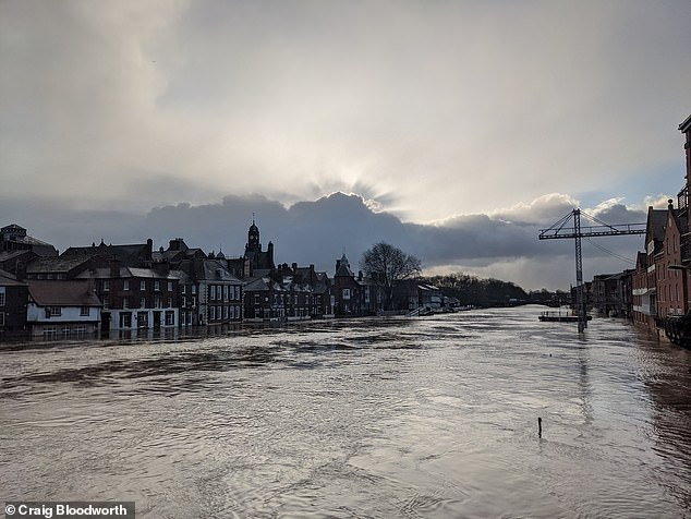 Social media user Craig Bloodworth tweeted out pictures of the flooding that has hit York after water levels rose in the River Ouse