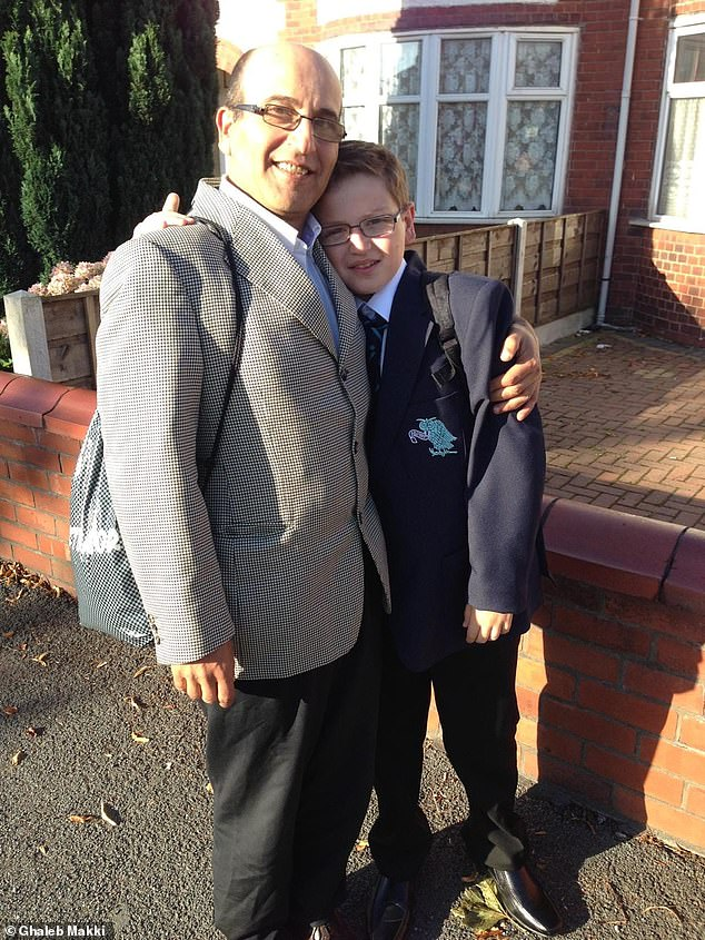 Yousef is pictured above with his father on his first day of grammar school. He was able to win a scholarship