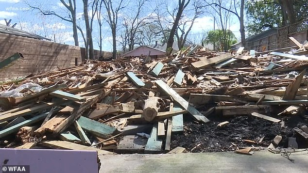 Bobby Lindamood, the owner of JR Demolition, said that employees from his small business thought they were at the correct location. This image shows the debris from the 'pink house'