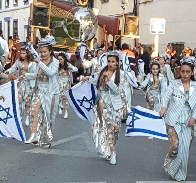 The 'vile' parade included dancing Holocaust victims in sequined tights and Israeli flags