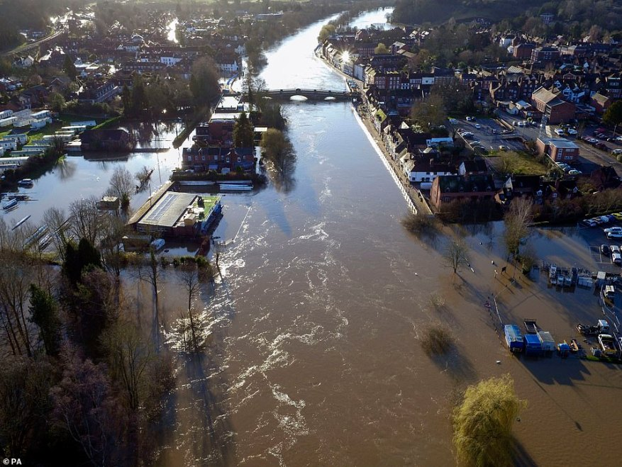 An aerial view of the severe flooding in Bewdley, Worcestershire, today as the River Severn remains very high in the area