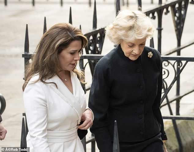 Princess Haya arriving at the Court of Appeal today with high-profile family lawyer Fiona Shackleton