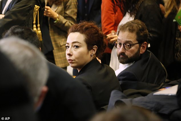 Maria Rosaria Cerciello Rega is seen at the first day of the trial of the two men accused of killing her cop husband. They had just returned from their honeymoon when he died