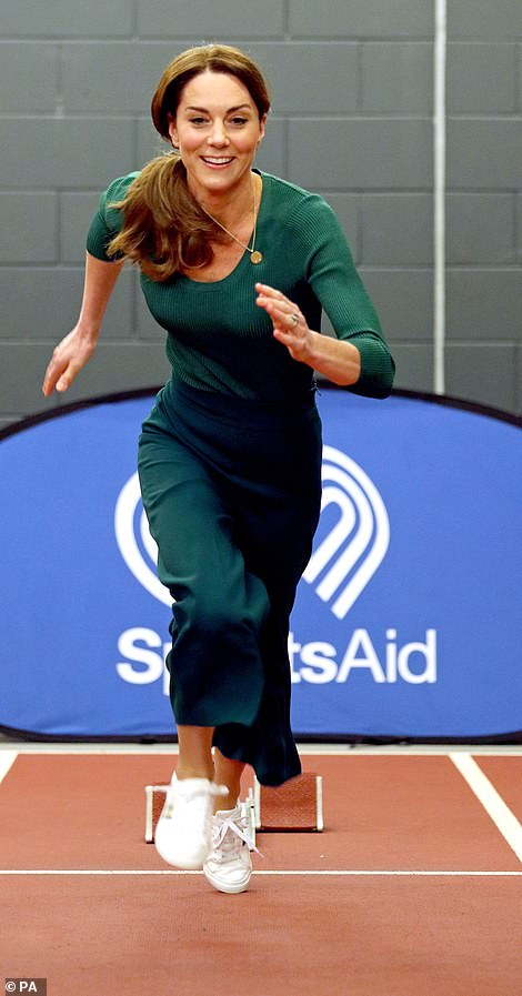 Kate showing off her sporting skills today