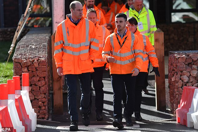 Prince William, 38, donned a bright orange high-vis jacket as hevisited the Tarmac National Skills and Safety Park in Nottinghamshire today