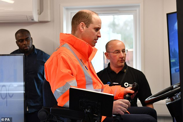 Prince William was also shown the recently developed skills centre, which provides training for individuals moving into the sector. Pictured,operating an excavator simulator