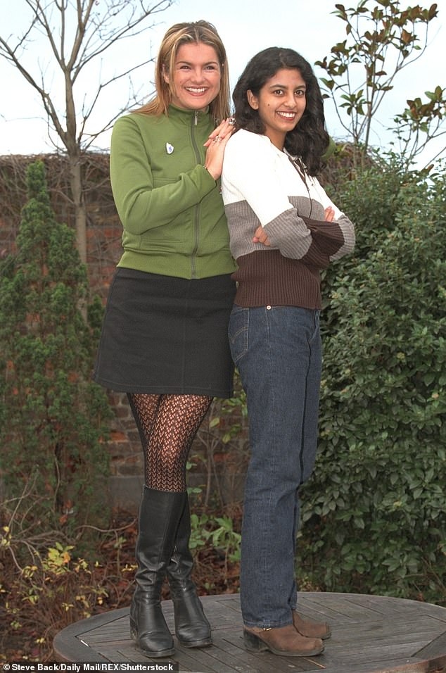 Back in the day: Many claimed she 'hasn't changed at all' since first gracing screens on Blue Peter in 1997 (pictured with Katy Hill)