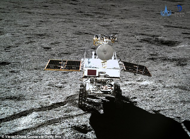 Yutu-2 (pictured), which can climb 20-degree hills and 8 inches tall obstacles, was deployed 12 hours later to explore the landing site. Previous landings have been on the near side of the Moon, which faces Earth
