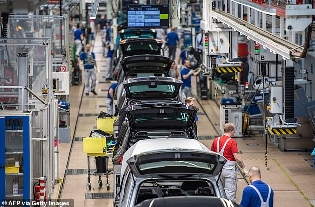 Overview of a production line at German car maker Volkswagen's headquarters in Wolfsburg, northern Germany