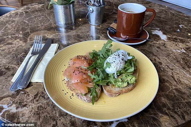 Fury dined on smashed avocado, smoked salmon and sourdough toast for breakfast