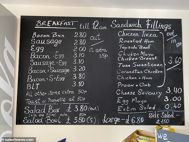 The menu board at Keegans coffee shop showing the range of breakfast selections