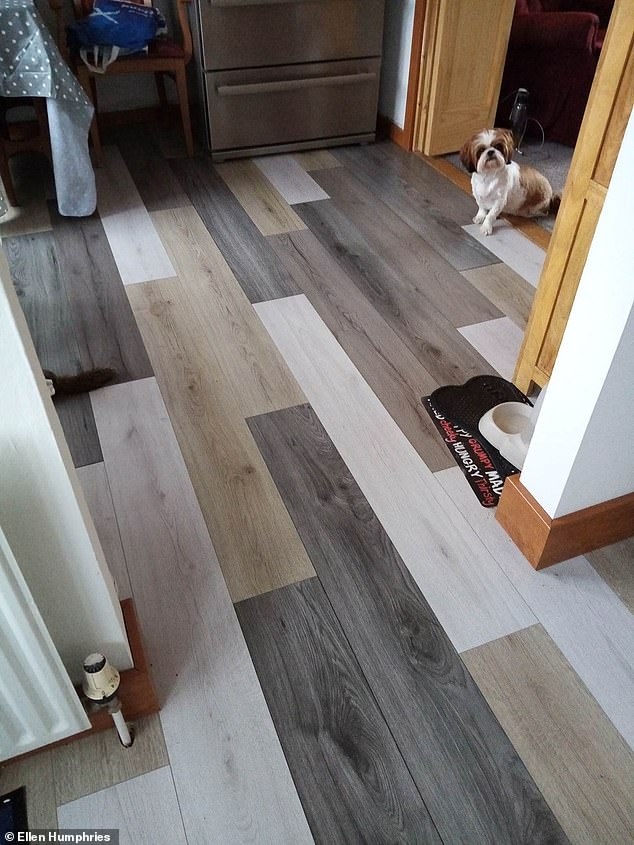Ellen Humphries, 56, from Glasgow, has told how money was tight, so she thought up a clever plan to bag wood flooring on the cheap. Pictured, the new flooring in the homeowner's kitchen