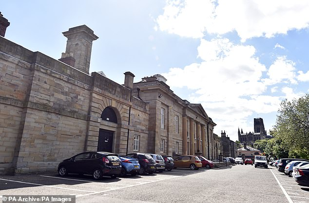 Prison officer John McGee, 50, was today convicted of a single count of perverting the course of justice at Durham Crown Court, pictured. McGee tried to convince a prison governor to have 'a quiet word' with one of his warders who gave evidence against his father, also called John McGee, who was jailed in connection with abuse allegations