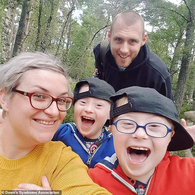 Elaine Scougal (pictured), from Dundee, made a social media page for her twinsafter constantly receiving 'pitying reactions' to her children's diagnosis