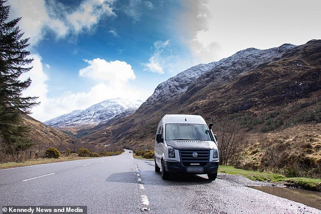 The family found they were not spending enough time together living their busy London lives and headed off on an adventure. Pictured, the Bambachs' van in Glencoe, Scotland