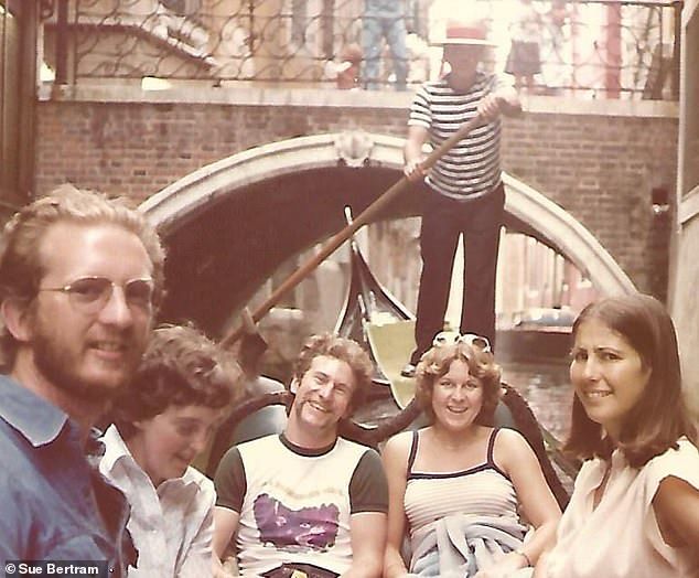 A Contiki contingent enjoy a gondola trip in Venice in 1979, though one holidaymaker (on the right) looks slightly sceptical