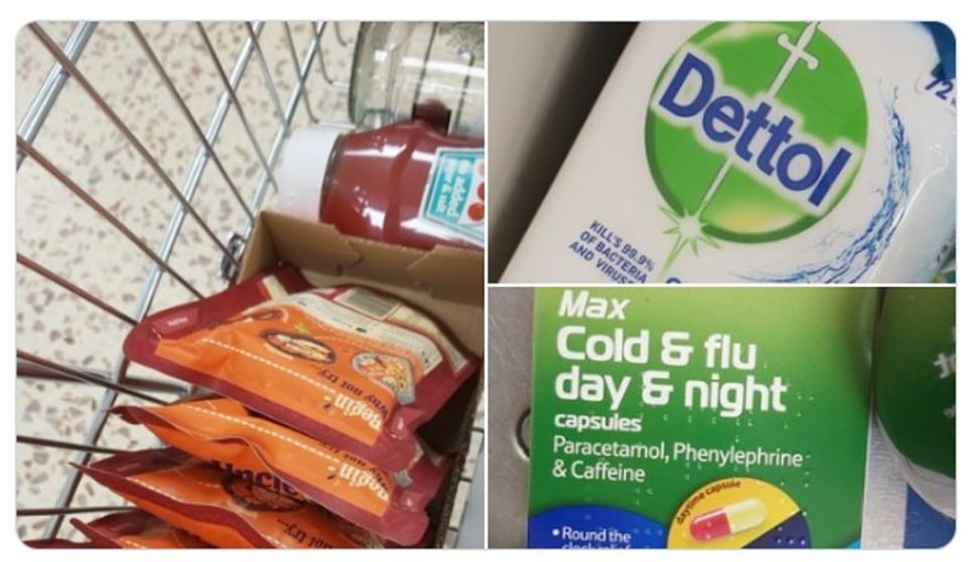 This Tesco shopper picked up packets of microwavable rice, Dettol wipes and cold and flu tablets as people start stockpiling because of the coronavirus crisis