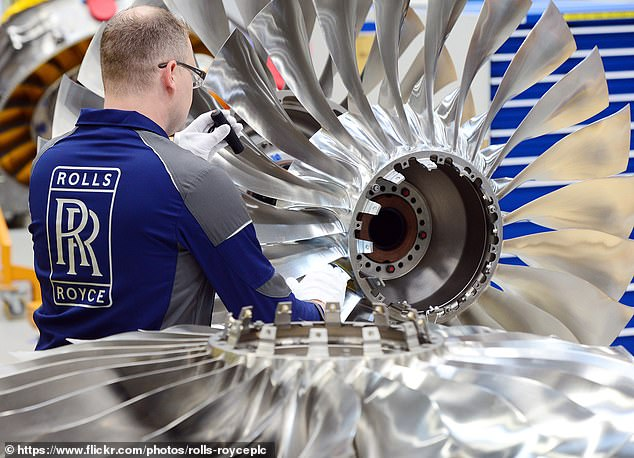 Taking off: On a day when the FTSE 100 dropped 3.2 per cent, stock in Britain's aircraft engine maker Rolls-Royce was the great exception, rising by 3.2 per cent