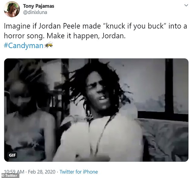 'Imagine if Jordan Peele made ¿knuck if you buck¿ into a horror song. Make it happen, Jordan. #Candyman' another user stated