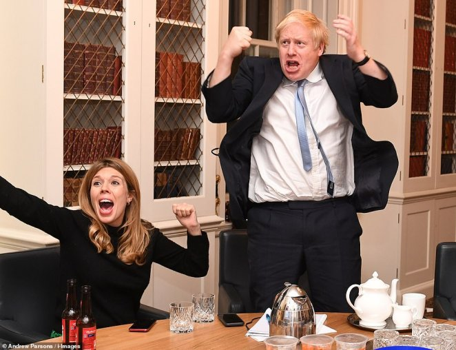 Boris Johnson Election Night. Britain's Prime Minister Boris Johnson and his partner Carrie Symonds watch the 2019 Election results on the TV in his study in No10 Downing Street