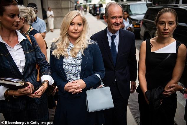 David Boies, with paedphile billionaire Jeffrey Epstein's victim Annie Farmer, right, and Virginia Roberts