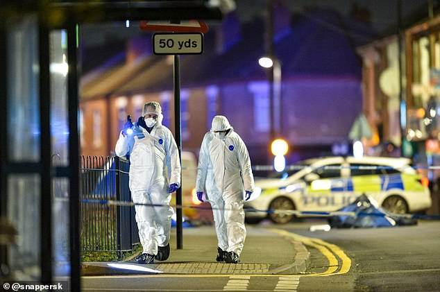 Clay Lane Police and Forensic Officers in Coventry after Ramani was stabbed to death at the party