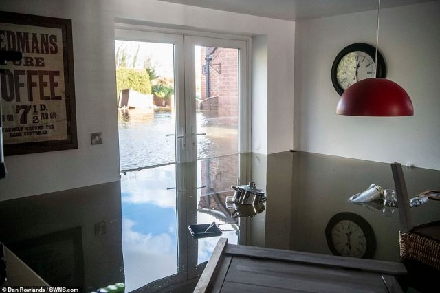 The UK average for this February was 202.1mm, beating the previous record in 1990 of 193.4mm since records began in 1862. Pictured: a kitchen destroyed by the floods inSnaith, East Yorkshire