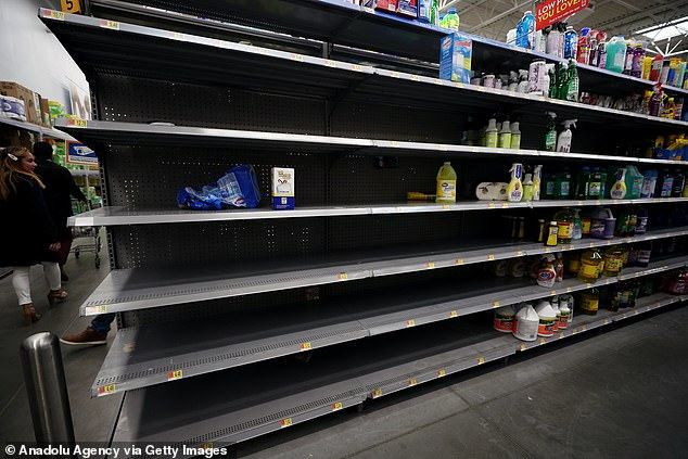 Empty shelves at a grocery store in New York. Shoppers have been stock-piling essential items amid fears of the spreading virus