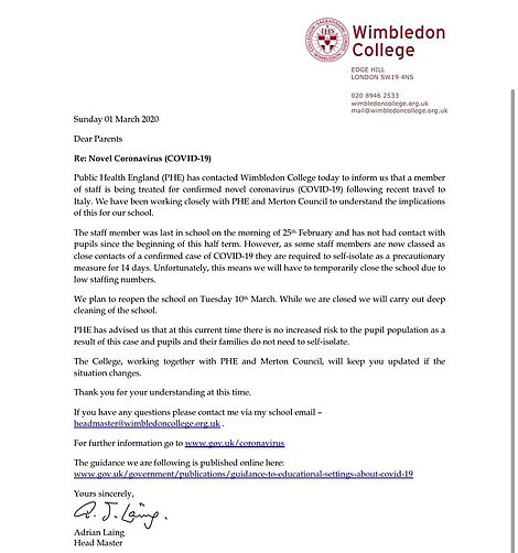 A letter sent to parents with pupils at Wimbledon  College, where a teacher tested positive after travelling to Italy