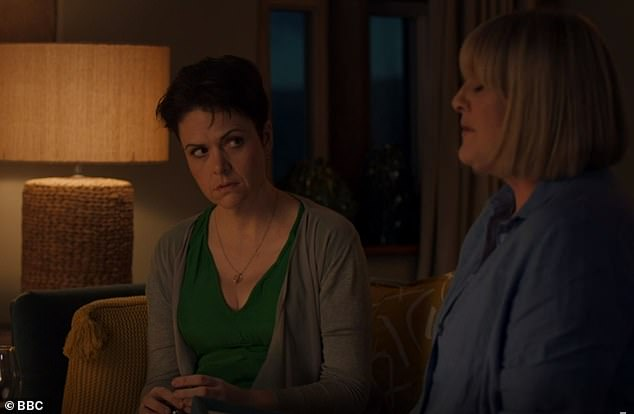 Difficult to watch: Caroline (Sarah Lancashire) had invited new colleague Ruth (Lu Corfield) over for dinner, hoping there might be something more than friendship between them. But the tone of the evening changed when Ruth discovered her new friend is gay, pictured