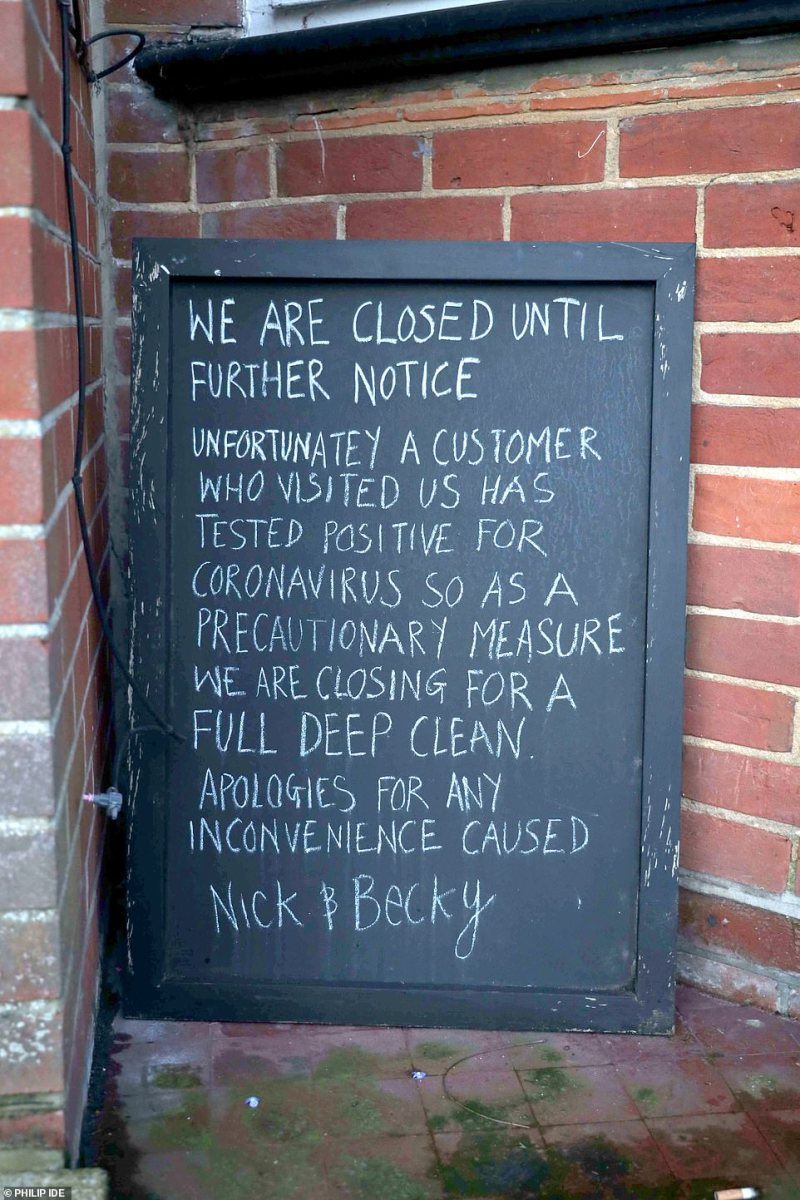 The landlords have said they are carrying out a full 'deep clean' in a reassuring message for customers outside