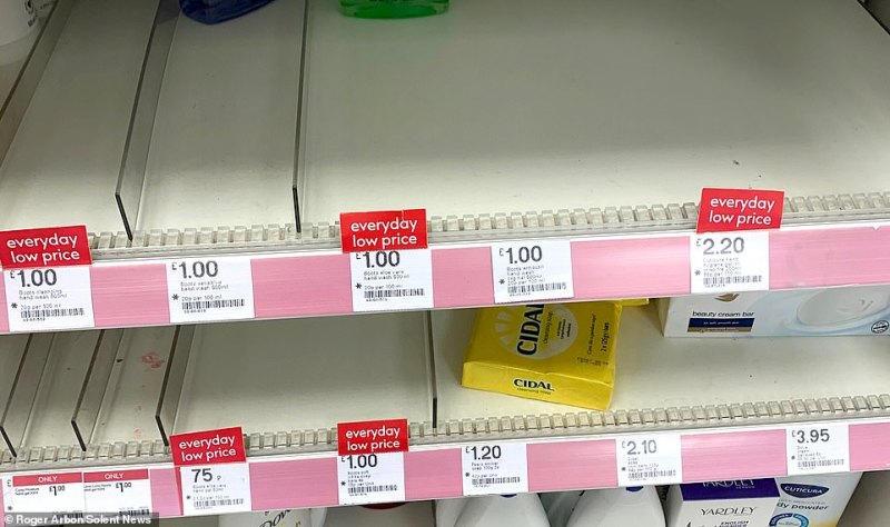 Anti-bacterial hand wash and hand gel is sold out in Haslemere's Boots today and Lloyds Pharmacy on the same high street has packed empty shelves with tissues