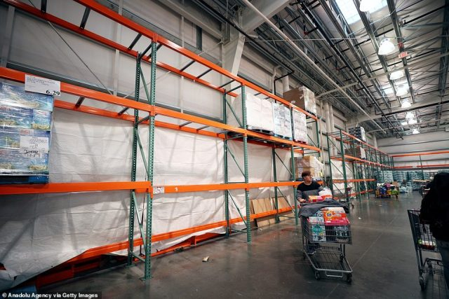 Empty shelves were seen at some supermarkets in New York as fear of the spread of coronavirus gripped the city