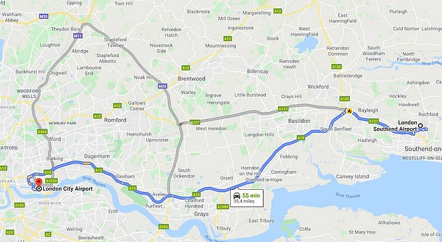 The author's flight was delayed, meaning London City had closed and the flight had to be diverted to Southend, 35 miles away