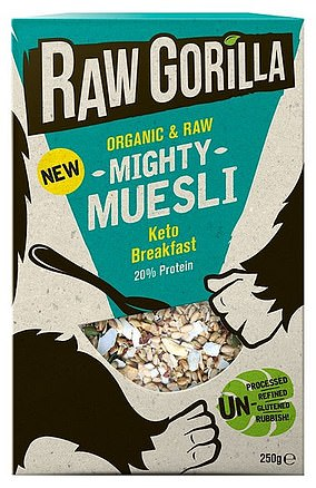 Raw Gorilla Mighty Muesli Keto Breakfast is made with activated seeds, which are soaked in water then dried