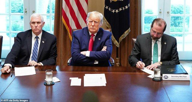 Response talks: Donald Trump held a Cabinet Room White House summit with pharmaceutical chiefs, and the leaders of his coronavirus task force including Mike Pence and HHS Secretary Alex Azar (right)