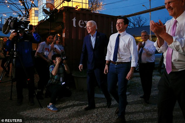 Buttigieg endorsed Biden at a stop at a local restaurant in Dallas ahead of the Super Tuesday primary